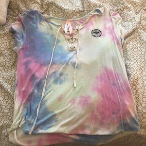 Tye dye tee shirt with tie